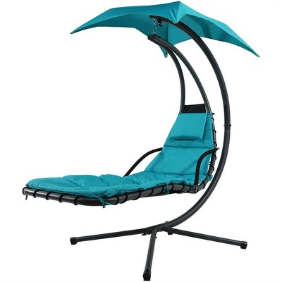 Floating Chaise Lounge Chair With Canopy Umbrella   Teal   Sunnydaze Decor
