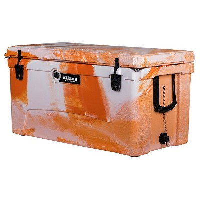 Elkton Outdoors 110 Quart Rotomolded Thermoplastic Heavy Duty Ice Chest Cooler with Built-In Bottle Opener Tabs and Integrated Fish Ruler, Orange