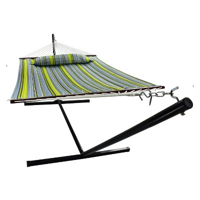 Hammock with Spreader Bars and Detachable Pillow Green/Blue - Sorbus