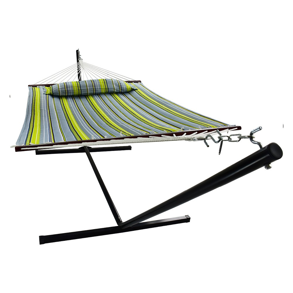 Image of Hammock with Spreader Bars and Detachable Pillow Green/Blue - Sorbus