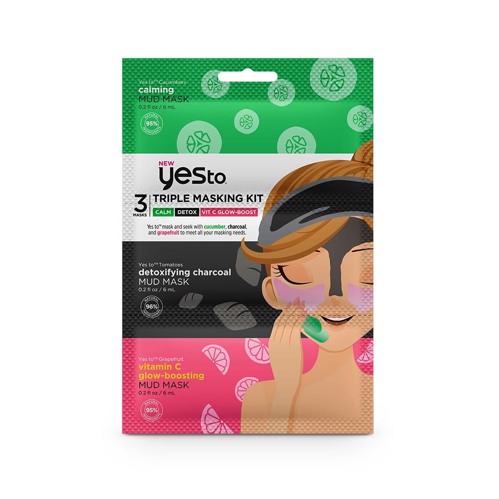 Yes To Triple Masking Kit - Calm, Detox, Vit C Glow-Boost - 3pc