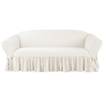 Essential Twill Ruffle Sofa Slipcover White - Sure Fit