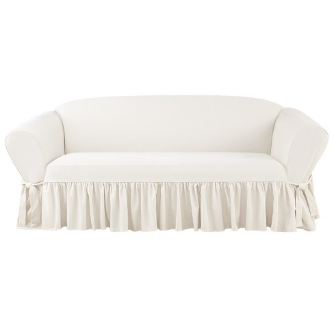 Awe Inspiring Essential Twill Ruffle Sofa Slipcover White Sure Fit Pdpeps Interior Chair Design Pdpepsorg