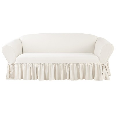 Nice Essential Twill Ruffle Sofa Slipcover White   Sure Fit
