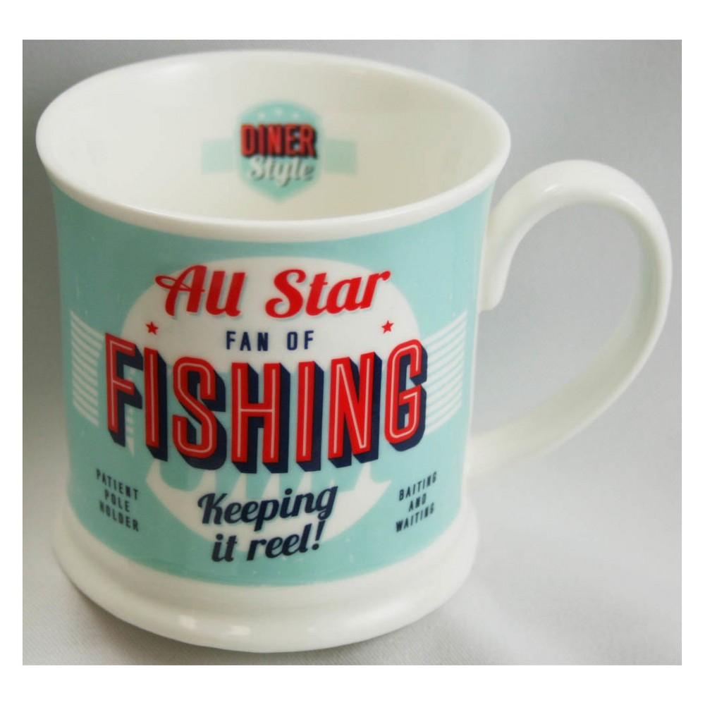 Image of Fishing Diner Style Mug, Blue