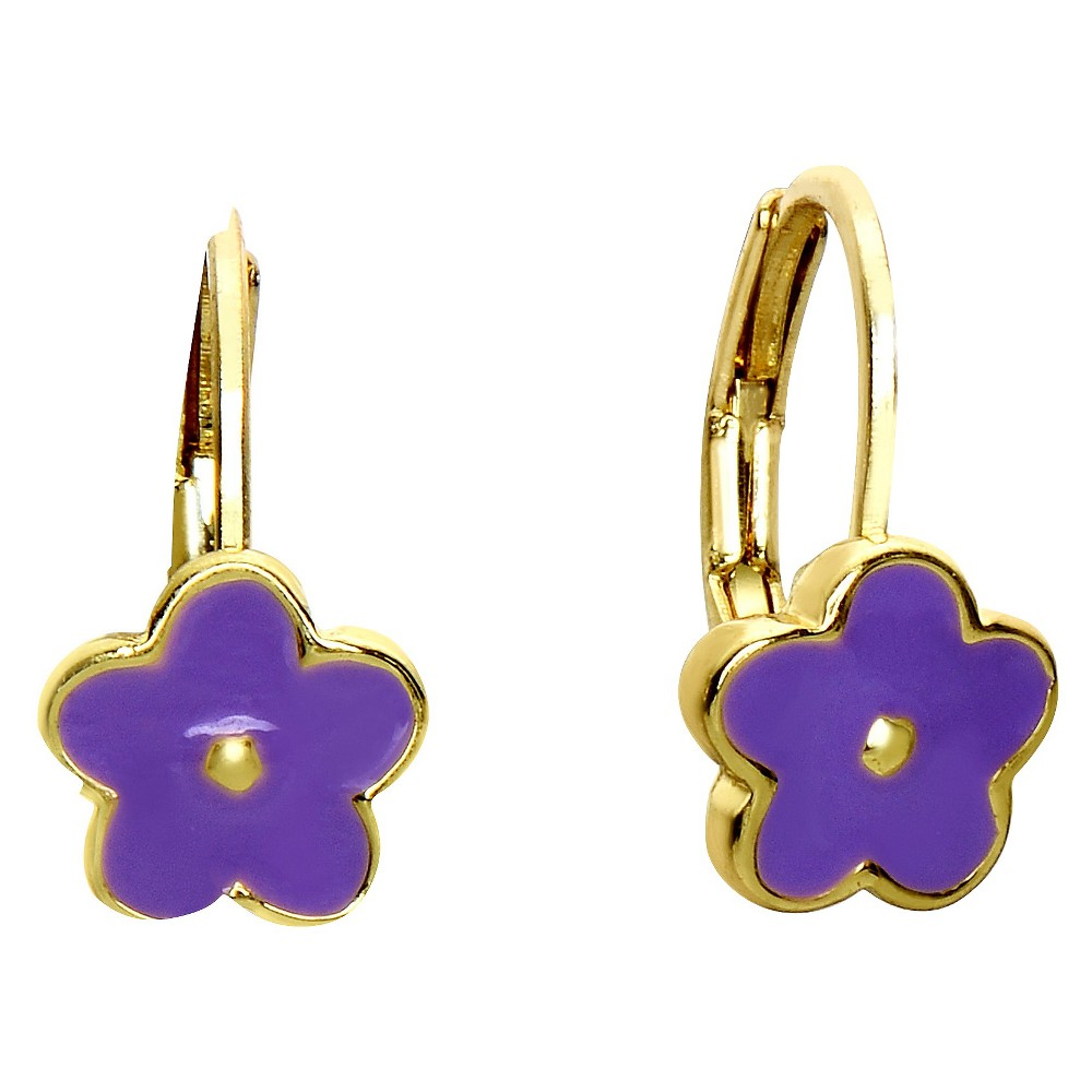 Ellen 18k Gold Overlay Enamel Flower Leverback Earrings - Lavender, Girl's Spruce up your everyday look with these high-fashion brass drop earrings earring. Color: Lavender. Gender: Female. Age Group: Kids.