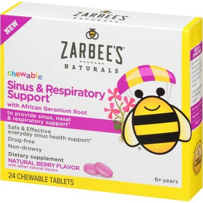Zarbee's Naturals Children's Chewable Sinus & Respiratory Support - Natural Berry Flavor - 24ct