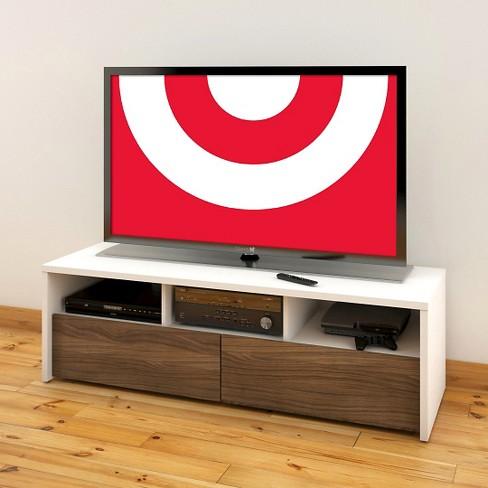 Liber T 2 Drawer Tv Stand White And Walnut 60 Nexera Target