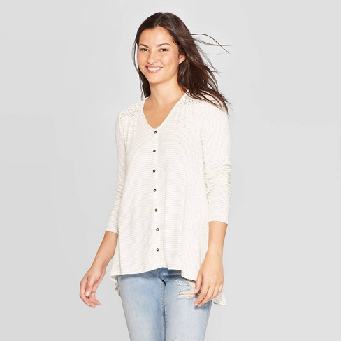 Women's Striped Long Sleeve V-Neck Button Front Knit Blouse - Knox Rose™ Ivory - image 1 of 2