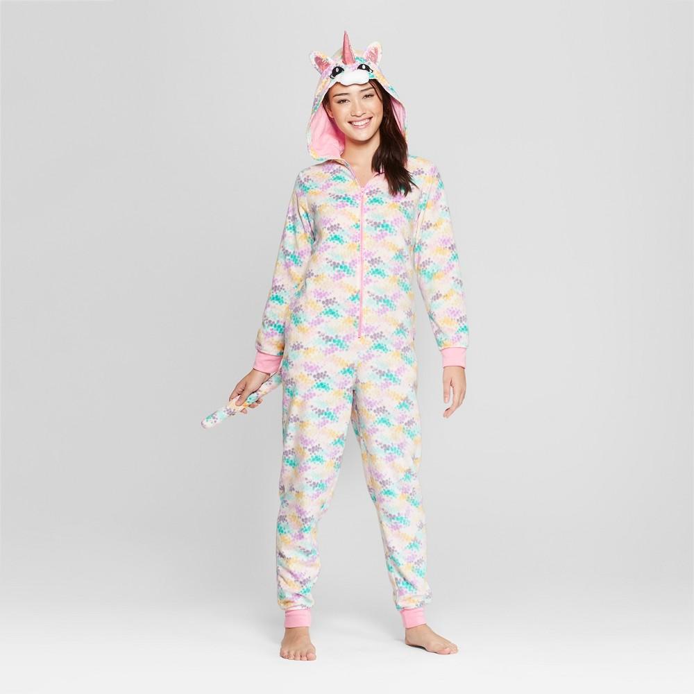 Women's Animal Print Kitticorn Union Suit - Xhilaration Pink XS/S, White