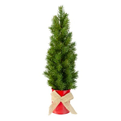 """Northlight 17"""" Mini Tabletop Christmas Tree with Red Metal Pot - Unlit"""
