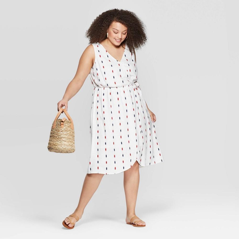 2deb88780808f2 Womens Plus Size Printed Sleeveless V Neck Wrap Dress Universal Thread Red  X White