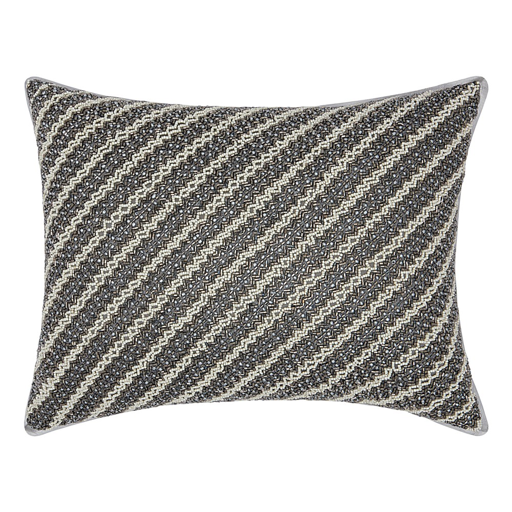 Image of Shades Of Gray Stripe Throw Pillow - Mina Victory