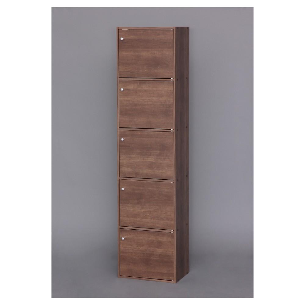 Image of IRIS 5 Tier Shelf With Door - Brown