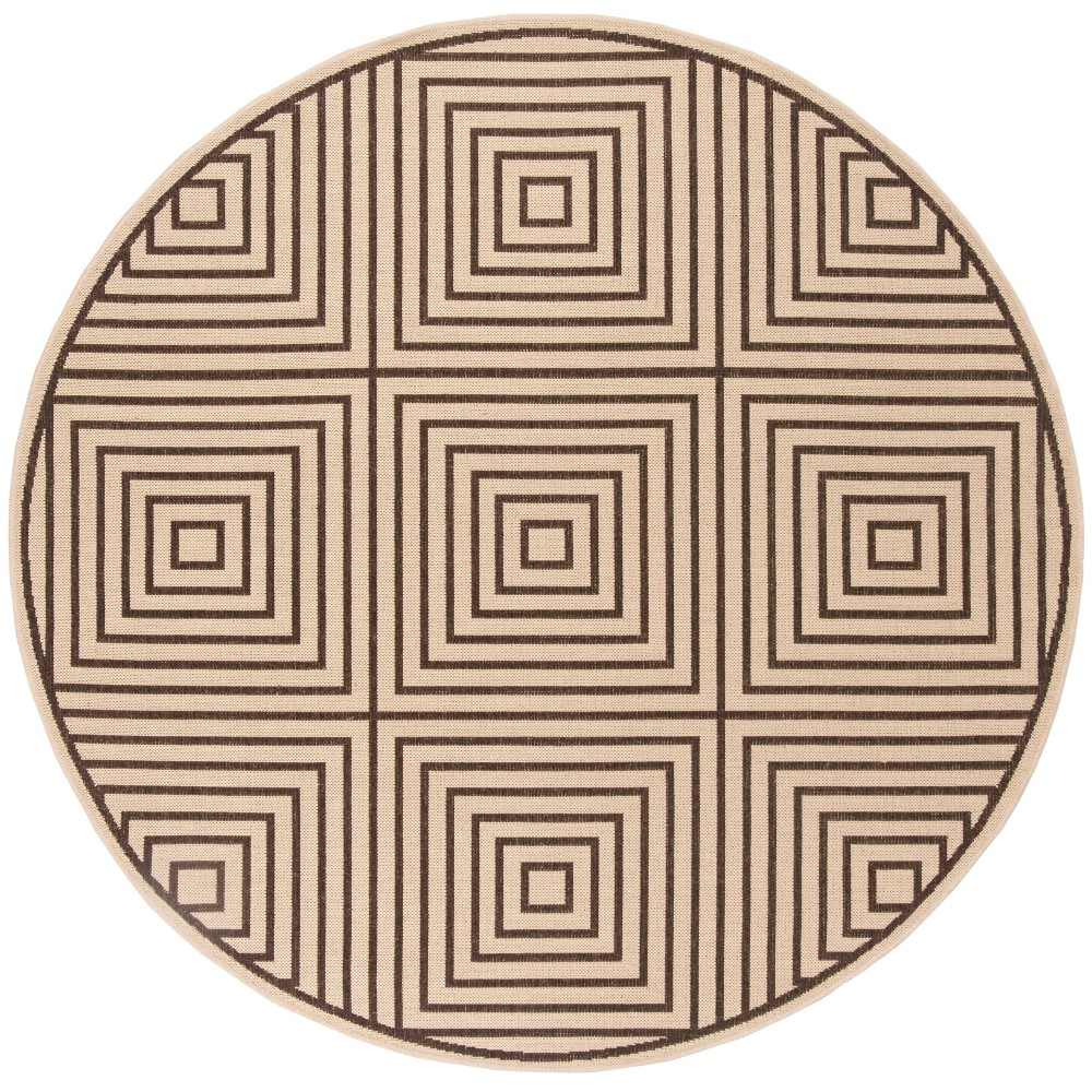 6'7 Geometric Loomed Round Area Rug Cream/Brown (Ivory/Brown) - Safavieh