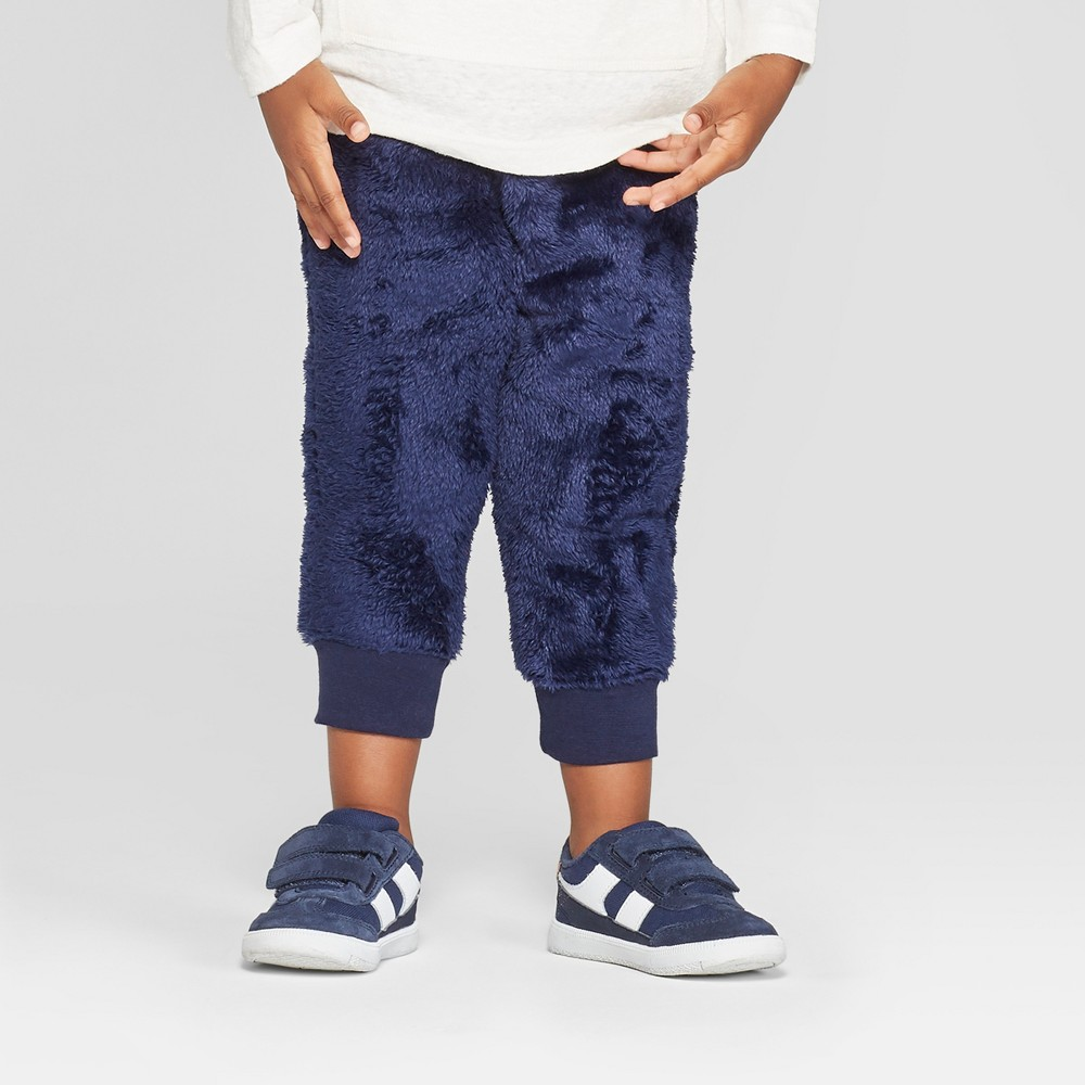 Toddler Boys' Teddy Bear Fleece Jogger Pants - Cat & Jack Navy 3T, Blue