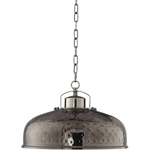 """Franklin Iron Works Dyed Nickel Pendant Light 18"""" Wide Farmhouse Industrial Rustic Hammered Dome Shade Kitchen Island Dining Room - image 1 of 4"""