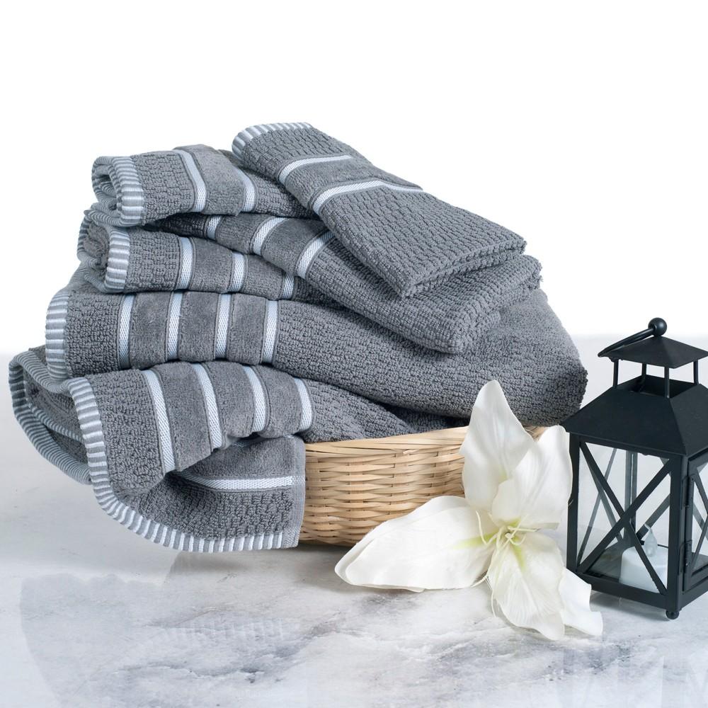 6pc Chevron Bath Towels Sets Silver - Yorkshire Home