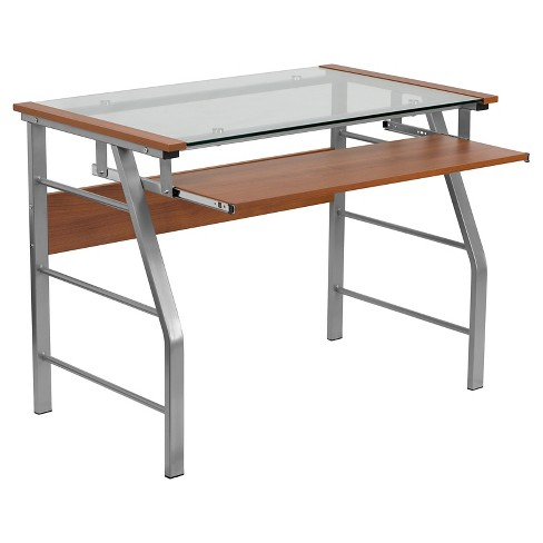 Gl Computer Desk With Pull Out Keyboard Tray Flash Furniture Target