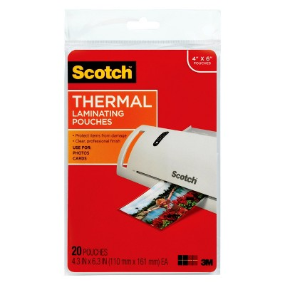 """Scotch 20ct 4"""" x 6"""" Thermal Laminating Pouches"""