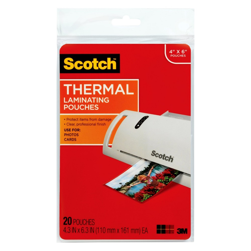 Scotch Thermal Laminating Pouches 4in x 6in 20-ct.