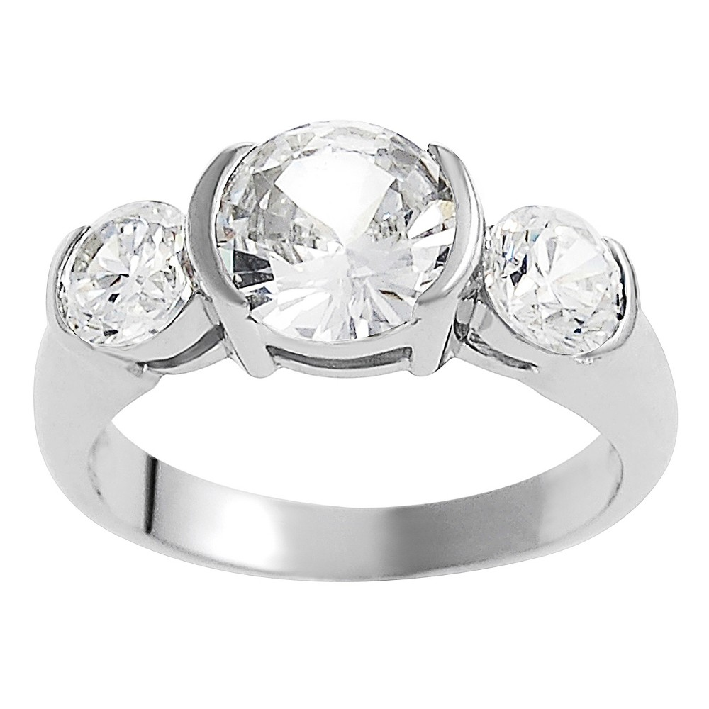 5 1/3 CT. T.W. Round-cut CZ Basket Set Three-stone Engagement Ring in Sterling Silver - Silver, 8, Girl's