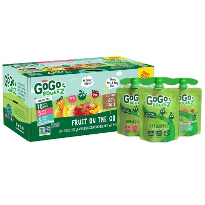 GoGo squeeZ Applesauce, Variety Apple/Peach/GIMME 5 - 3.2oz/20ct