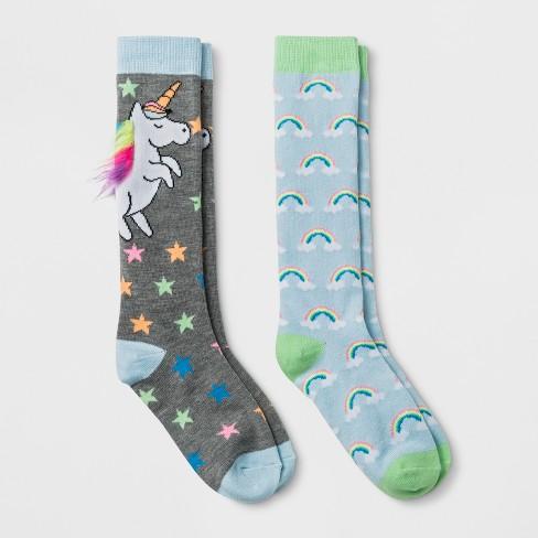 e1f46c4cb Girls  2pk Unicorn Knee-High Socks- Cat   Jack™ Black   Target