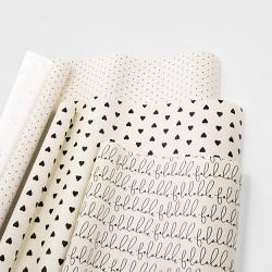 Gift Wrap Trio Cream and Black - sugar paper™