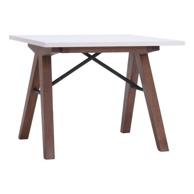 """Saw-Horse Style Mid-Century Modern 24"""" Square End Table - Walnut/Black/White - ZM Home"""