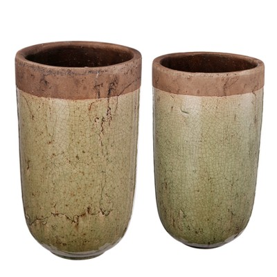 Candia Two-Tone Earthen Pots Tall Brown/Tan 2pk - AB Home Inc.