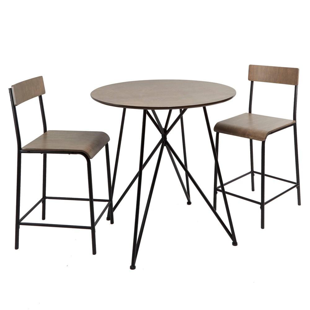 Image of 3pc Declean Metal Wood Pub Height Dining Set Light Gray - Silverwood, Black Brown