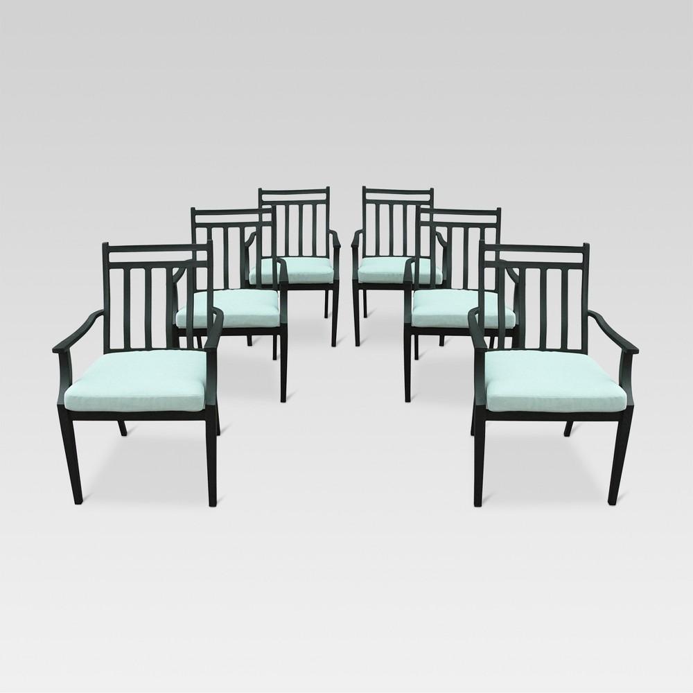 Fairmont 6pk Steel Patio Dining Chairs Aqua (Blue) - Threshold