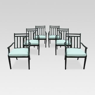 Fairmont 6pk Steel Patio Dining Chairs Aqua - Threshold™