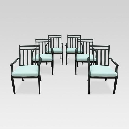Groovy Fairmont 6Pk Steel Patio Dining Chairs Aqua Threshold Customarchery Wood Chair Design Ideas Customarcherynet