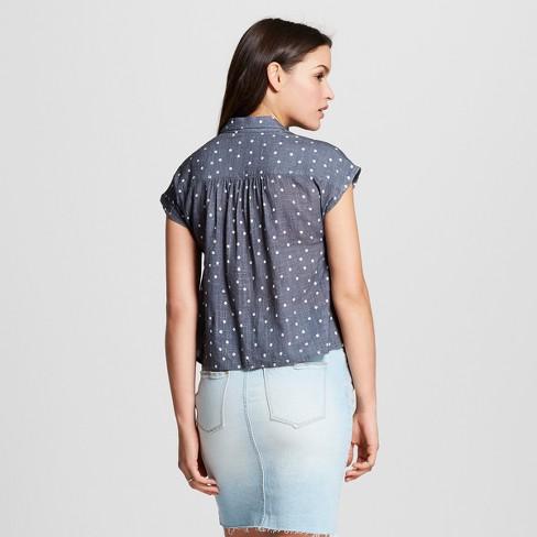 167d32d954a Women s Short Sleeve Drapey Button-Down - Universal Thread™ Gray   Target
