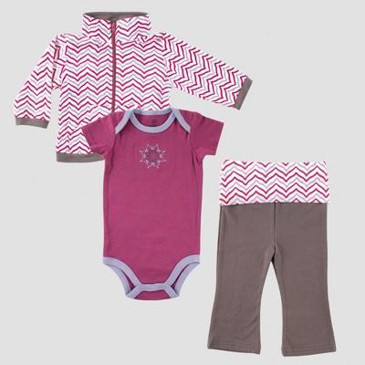 Yoga Sprout Baby Girls' Jacket, Bodysuit & Pants Set , Lotus - Purple 9-12M
