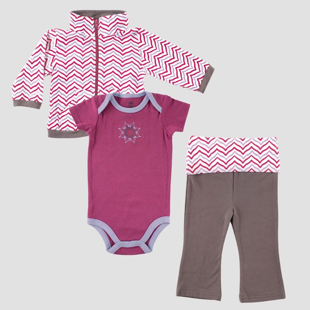 Yoga Sprout Baby Girls' Jacket, Bodysuit & Pants Set , Lotus - Purple 3-6M