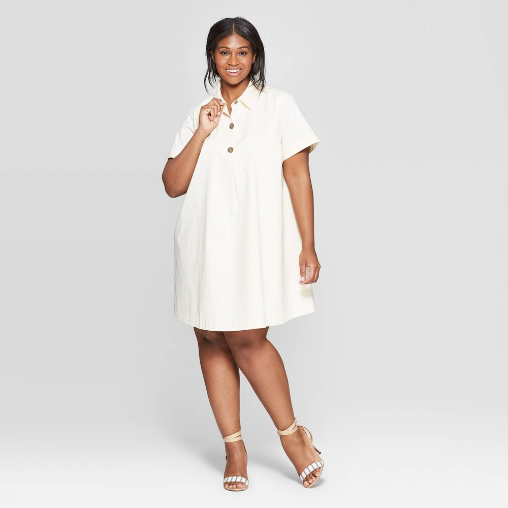 bce5f638d Womens Plus Size Short Sleeve V Neck Trapeze Shirtdress Who What Wear Cream  Ivory 3X