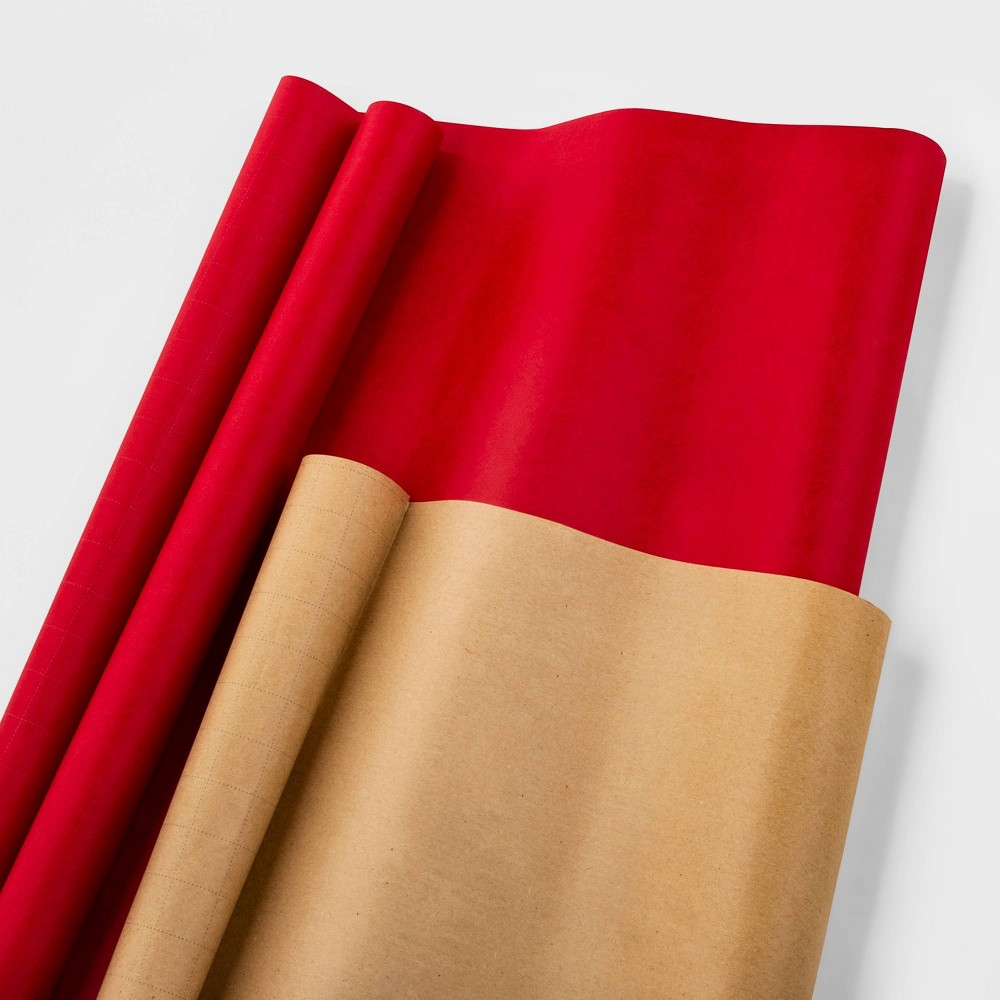Image of 2ct Premium Brown & Red Christmas Gift Wrap - Wondershop