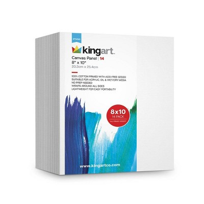 """Kingart 8"""" x 10"""" 14ct Canvas Panel Board Value Pack"""