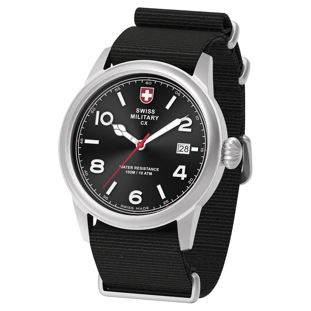 Men's Swiss Military by Charmex Vintage silver tone nato band watch - Black
