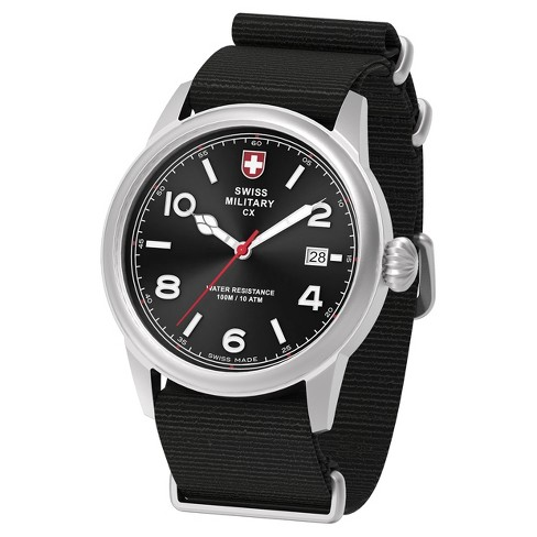 Men's Swiss Military by Charmex Vintage silver tone nato band watch - Black - image 1 of 2