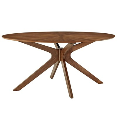 "63"" Crossroads Oval Wood Dining Table Walnut - Modway"