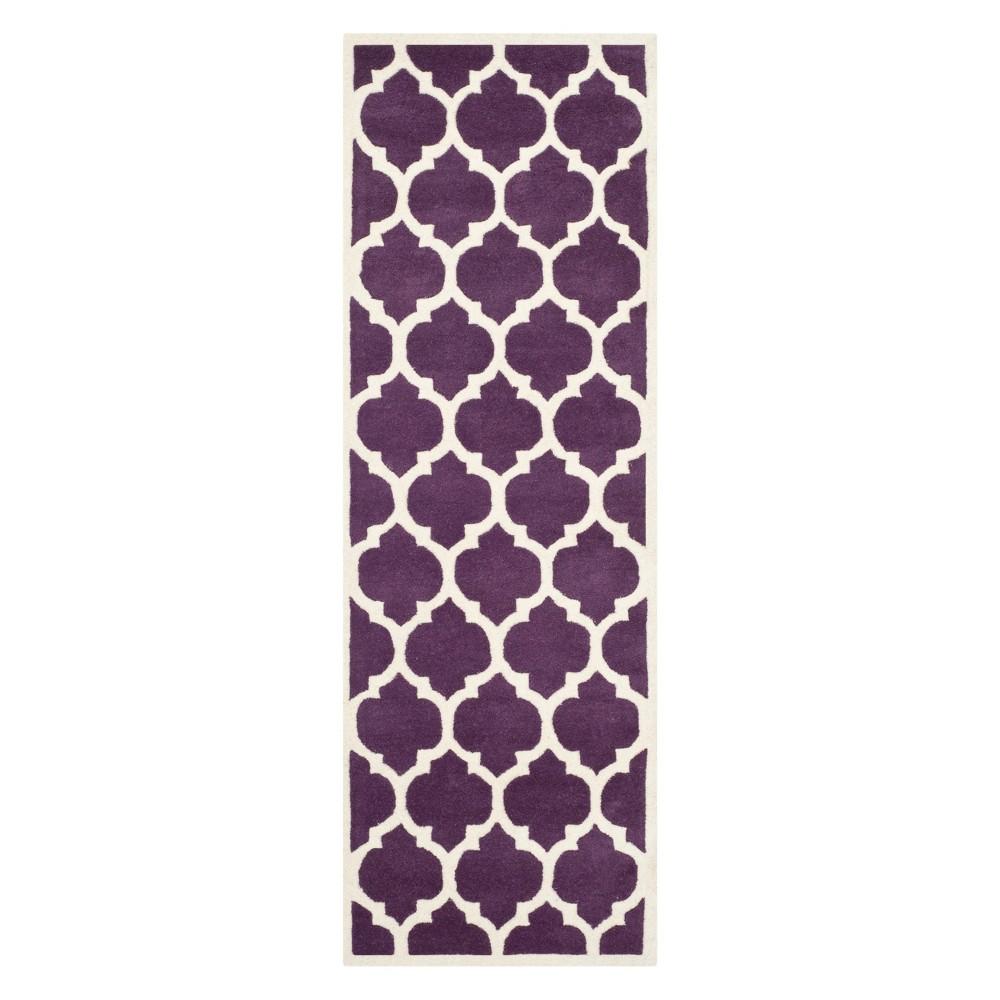 23X11 Quatrefoil Design Tufted Runner Purple/Ivory - Safavieh Promos