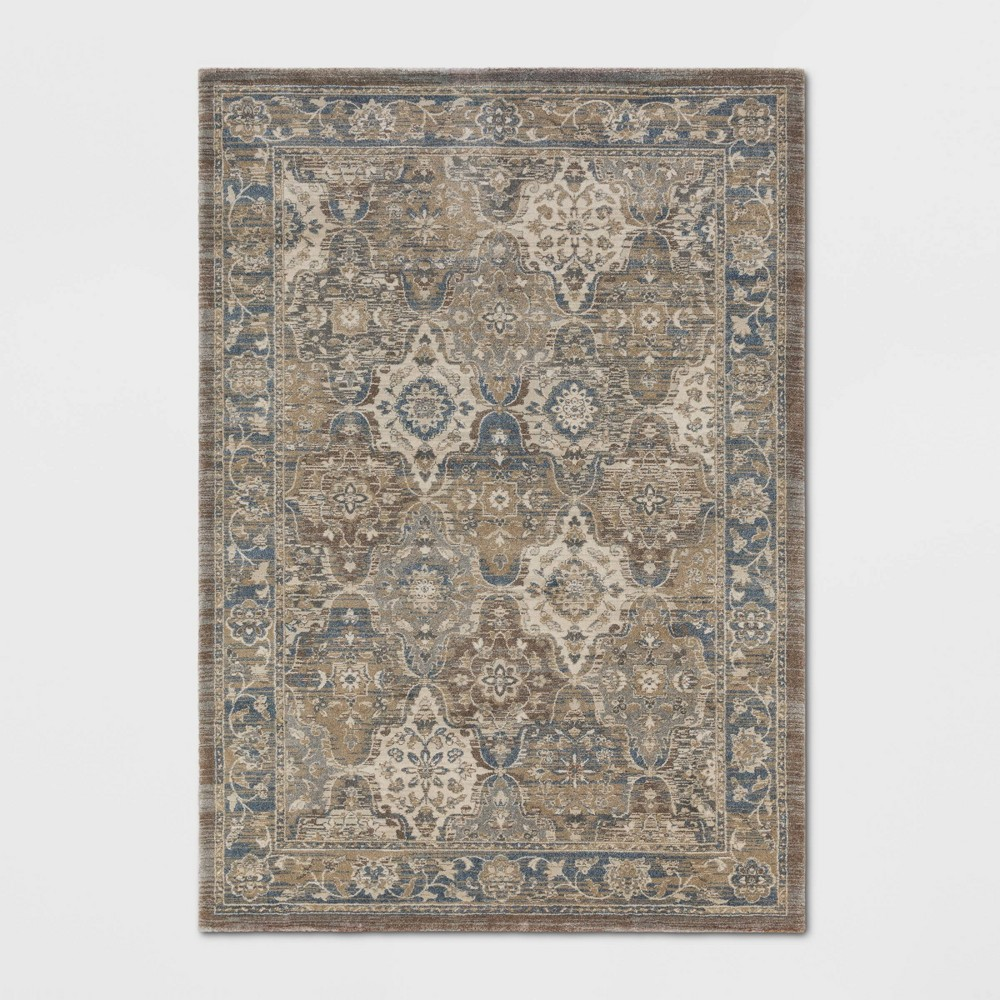 9 39 X12 39 Distressed Persian Woven Area Rug Brown Threshold 8482