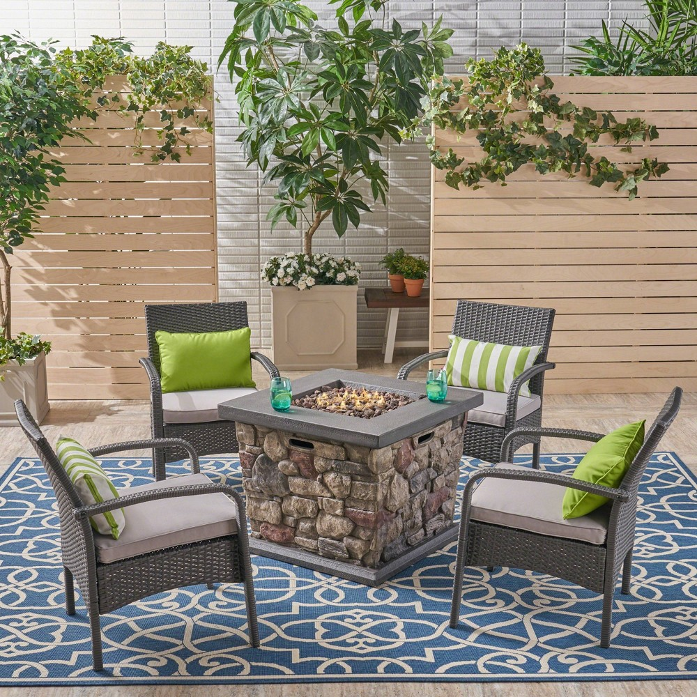 Cordoba 5pc Wicker and Light Weight Concrete Fire Pit Set - Gray/Silver - Christopher Knight Home