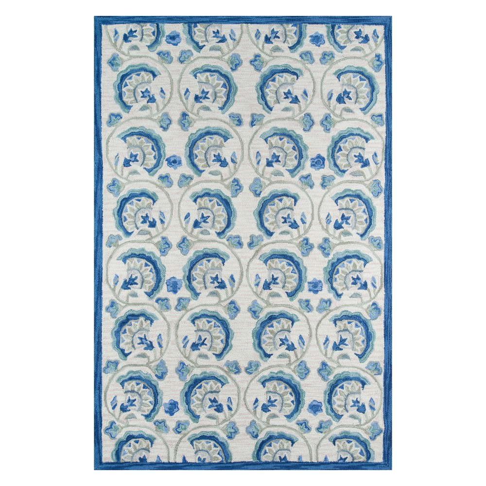 2'X3' Floral Hooked Accent Rug Blue - Momeni