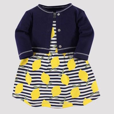 Touched by Nature Baby Girls' Lemons Organic Cotton Dress & Cardigan - Yellow/Blue 0-3M