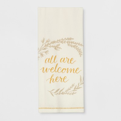 28 x18  All are Welcome Printed Kitchen Towel Cream - Threshold™
